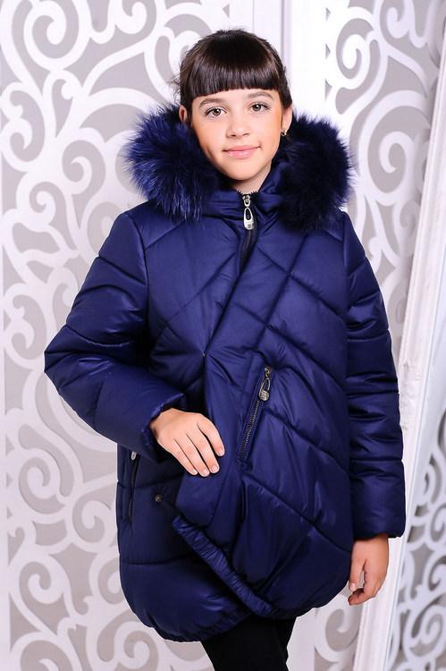 Куртка зимняя «Элис», джинс, рост 128-152