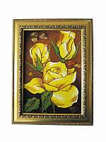Картина из янтаря Желтые розы (Картины и иконы из янтаря)