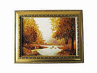 Картина из янтаря Осенний лес с ручейком (Картины и иконы из янтаря)