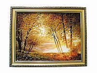 Картина из янтаря Осенний лес у озера (Картины и иконы из янтаря)