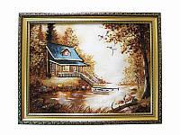 Картина из янтаря Домик с лодкой (Картины и иконы из янтаря)