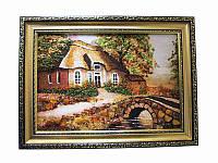 Картина из янтаря Дом с мостом (Картины и иконы из янтаря)