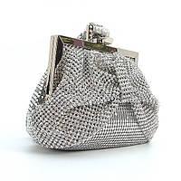 Серебристый клатч rh-02050sil женский вечерний из камней, фото 1