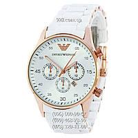 Классические мужские часы Emporio Armani Silicone Gold-White (кварцевые) c722b597200