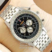 Элитные мужские часы Breitling Chronometre Silver/Black (кварцевые)