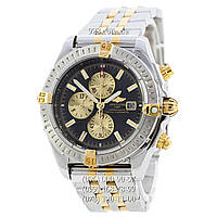 Элитные мужские часы Breitling Chronomat Chronograph Silver-Gold/Silver/Black-Gold (механические)