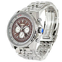 Элитные мужские часы Breitling for Bentley Automatic Steel Silver/Brown-White (механические)