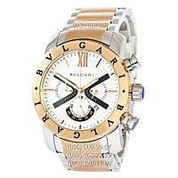Часы мужские Bvlgari SD38S L2161 Chronograph Silver-Gold/White (кварцевые)