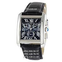 Элитные женские часы Cartier Tank Chronograph Black/Silver/Black (кварцевые)