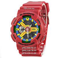 Спортивные мужские часы Casio G-Shock AAA GA-110 Red-Yellow (кварцевые)