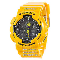 Спортивные мужские часы Casio G-Shock AAA GA-100 Yellow-Black (кварцевые)