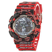 Спортивные мужские часы Casio G-Shock AAA GA-100 Military-Red (кварцевые)