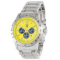 Элитные мужские часы Ferrari Scuderia Chrono Steel Silver/Yellow-Black (кварцевые)