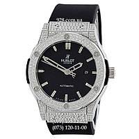 Мужские часы Hublot Classic Fusion Automatic Full Pave Black/Silver/Black (механические)