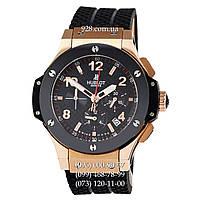 Элитные мужские часы Hublot Big Bang Chronograph Ceramica Black/Gold-Black (кварцевые)