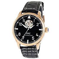 Классические мужские часы IWC Pilot`s Watches Tourbillon Black/Gold/Black (механические)