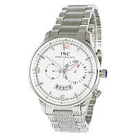 Классические мужские часы IWC Chronograph Big Dial Steel Silver/White (кварцевые)