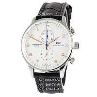 Классические мужские часы IWC Portuguese Chronograph Black/Silver/White-Orange (кварцевые)