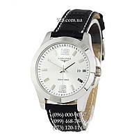 Классические мужские часы Longines Quartz Black/Silver/Silver (кварцевые)