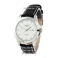 Классические мужские часы Longines Diamonds Silver/White (кварцевые)