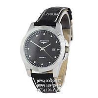 Классические мужские часы Longines Diamonds Quartz Silver/Black (кварцевые)