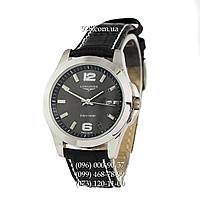 Классические мужские часы Longines Quartz Black/Silver/Black (кварцевые)