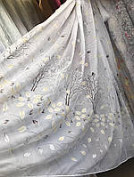 Тюль шифоновая печать Листья YH-12  на метраж