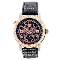 Элитные мужские часы Patek Philippe Grand Complications 6002 Sky Moon Black-Gold-Black (кварцевые)