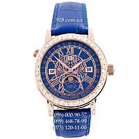 Элитные женские часы Patek Philippe Grand Complications 6002 Sky Moon Blue-Gold-Blue (кварцевые)