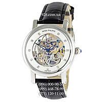 Элитные женские часы Patek Philippe Skeleton Tourbillon Crystals Black/Silver/White (механические)