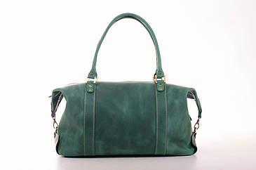Дорожная сумка саквояж С1 из кожи crazy зеленый