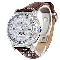 Элитные мужские часы Patek Philippe Grand Complications 6002 Sky Moon White/Silve/Brown (кварцевые)