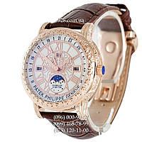Элитные мужские часы Patek Philippe Grand Complications 6002 Sky Moon White/Gold/Brown (кварцевые)