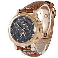 Элитные мужские часы Patek Philippe Geneve Black/Gold/Brown (механические)