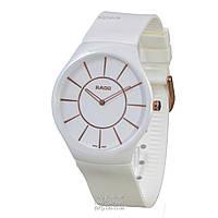 Классические женские часы Rado True Thinline Rubber White-Gold (кварцевые)
