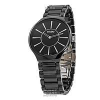 Классические мужские часы Rado Thinline Ceramic Black-Silver (кварцевые)