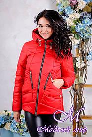 Женская красная осенняя куртка (р. 44-56) арт. 1011 Тон 76