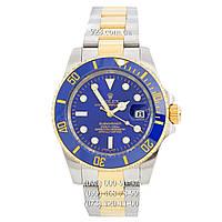 Элитные мужские часы Rolex Submariner Date Silver-Gold/Blue/Blue (механические)