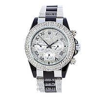 Классические женские часы Rolex Cosmograph Daytona Women Crystal Silver-Black/White (механические)
