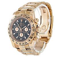 Элитные мужские часы Rolex Cosmograph Daytona Chronograph Pink Gold-Black (кварцевые)