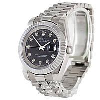 Элитные мужские часы Rolex Datejust Steel Diamonds Fluted Bezel Silver/Black (механические)