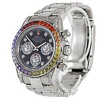 Элитные мужские часы Rolex Cosmograph Daytona Rainbow Automatic White Gold (кварцевые)
