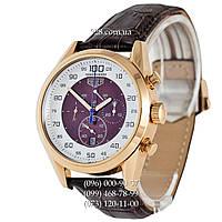 Элитные мужские часы TAG Heuer Carrera Mikrograph Brown/Gold/White-Brown (кварцевые)