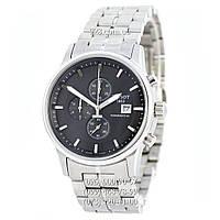 Классические мужские часы Tissot Powermatic 80 Chronograph Steel Silver/Black (кварцевые)