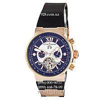 Классические мужские часы Ulysse Nardin Maxi Marine Chronograph Tourbillon Black/Gold/Black (механические)