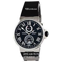 Элитные мужские часы Ulysse Nardin Marine Chronometer Black/Silver/Black (механические)