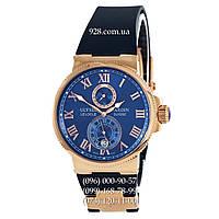 Элитные мужские часы Ulysse Nardin Marine Chronometer Blue/Gold/Blue (механические)