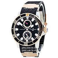 Элитные мужские часы Ulysse Nardin Maxi Marine Diver AAA Gold-Black-Silver (механические)