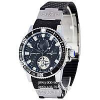 Классические мужские часы Ulysse Nardin Maxi Marine Diver Tourbillon Black/Silver/Black (механические)