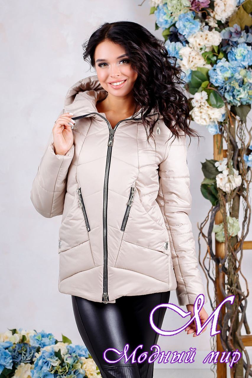 Женская бежевая куртка большого размера (р. 44-56) арт. 1011 Тон 24
